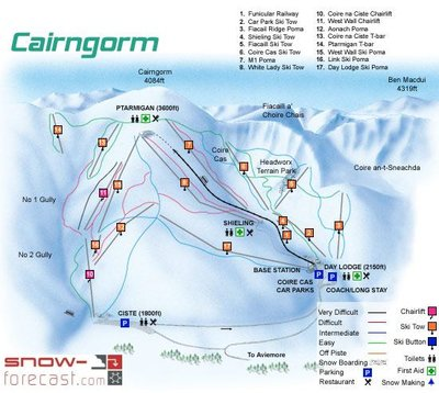 Piste map showing the old Ciste and West Wall chairlifts (10 & 11). Abandoned in 2003 but still in place in 2016.