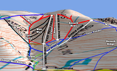 Map showing the maximum extent of skiing and lifts in the Ciste gully. Only the West Wall Poma remains in 2016.