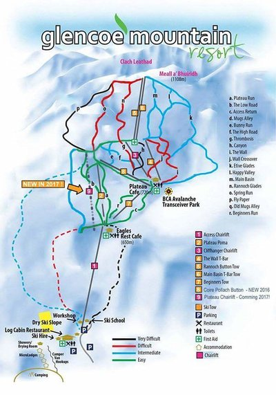 Map showing piste map with placement of chairlift due to open 2017