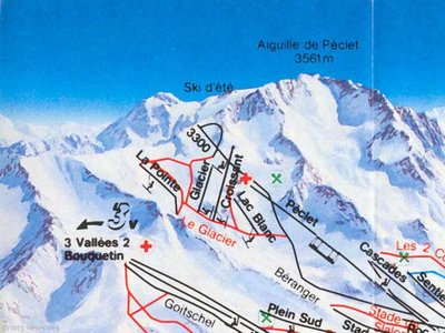 Zoom in on the summer skiing area from a 1989-1990 piste map. Summer skiing in Val Thorens lasted until the summer of 1999 when it stopped. Only the glacier chairlift survives (but only operates in the winter)
