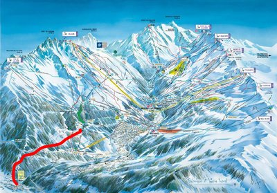 Piste map showing proposals (now abandoned) for a blue piste to Berdes-les-bains. The route remains passable as an off piste option during good snow. See http://cities.reseaudescommunes.fr/cities/706/documents/mjmgxgqss0zmz96.pdf for more information.