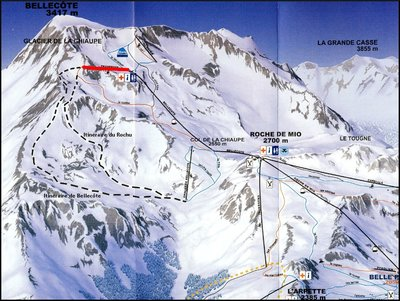 Zoom on glacier area for 2009/10 season. TSF2 Traversée highlighted.