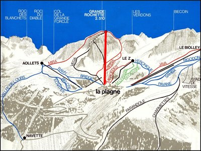 1966 piste map with Gondola highlighted in red.