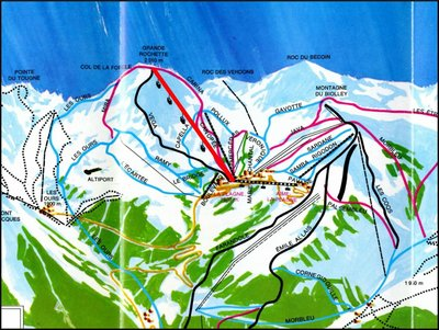 1969 piste map with Gondola highlighted in red.