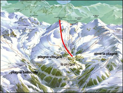 1979 piste map with Gondola Grande Rochette highlighted in red.