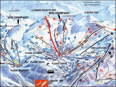 1997/1998 season piste map with Gondola Grande Rochette highlighted in red.