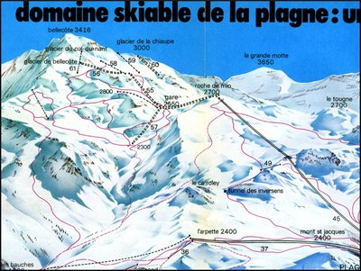 Map showing plans for the development of the glacier in 1977