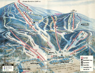 Pico Mountain 1994 Brochure Trail Map