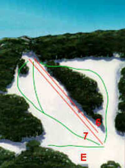 Lift map showing the two lifts at Dingo Dell that last ran circa 1988