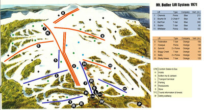 Mount Buller ski map, 1971, showing lifts, equipment and vertical.