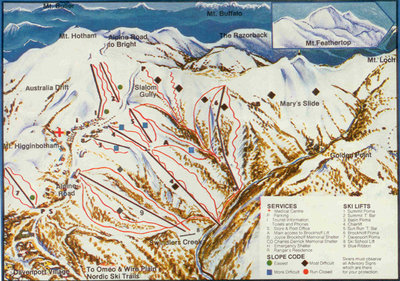 1982 Downhill Map from Ski Victoria magazine
