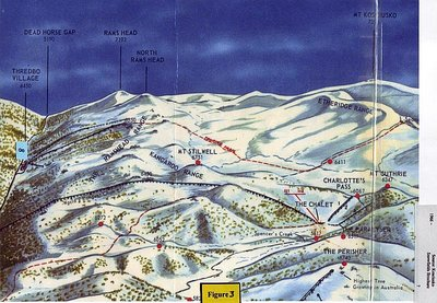 Route of the Charlotte Pass to Thredbo Valley chairlift. Claimed to be the longest in the world when built.