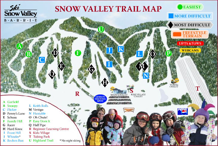 Ski Snow Valley Barrie - SkiMap.org Map Of Snow Village on