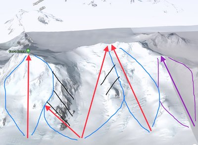Purple indicates future chairlifts and runs