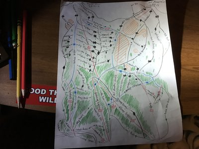 Hand drawn map of Wolf Hollow