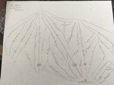 Hand drawn trail map inspired by Heights of Horseshoe ski club. Colored version coming soon