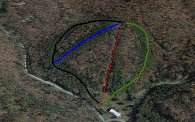 Google Earth Rendering of Mountian Run. One SLI double chairlift (red) and three runs.