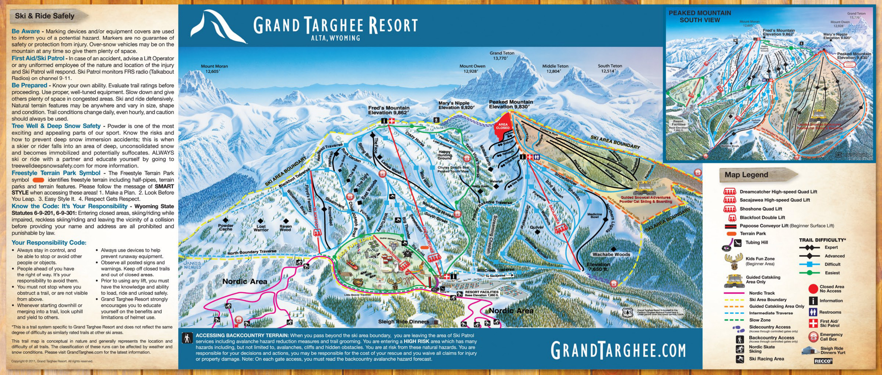 grand targhee ski resort - skimap