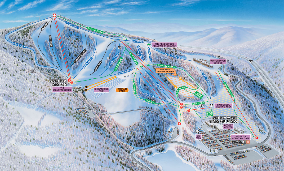 Ski Virginia Map.Winterplace Ski Resort Skimap Org
