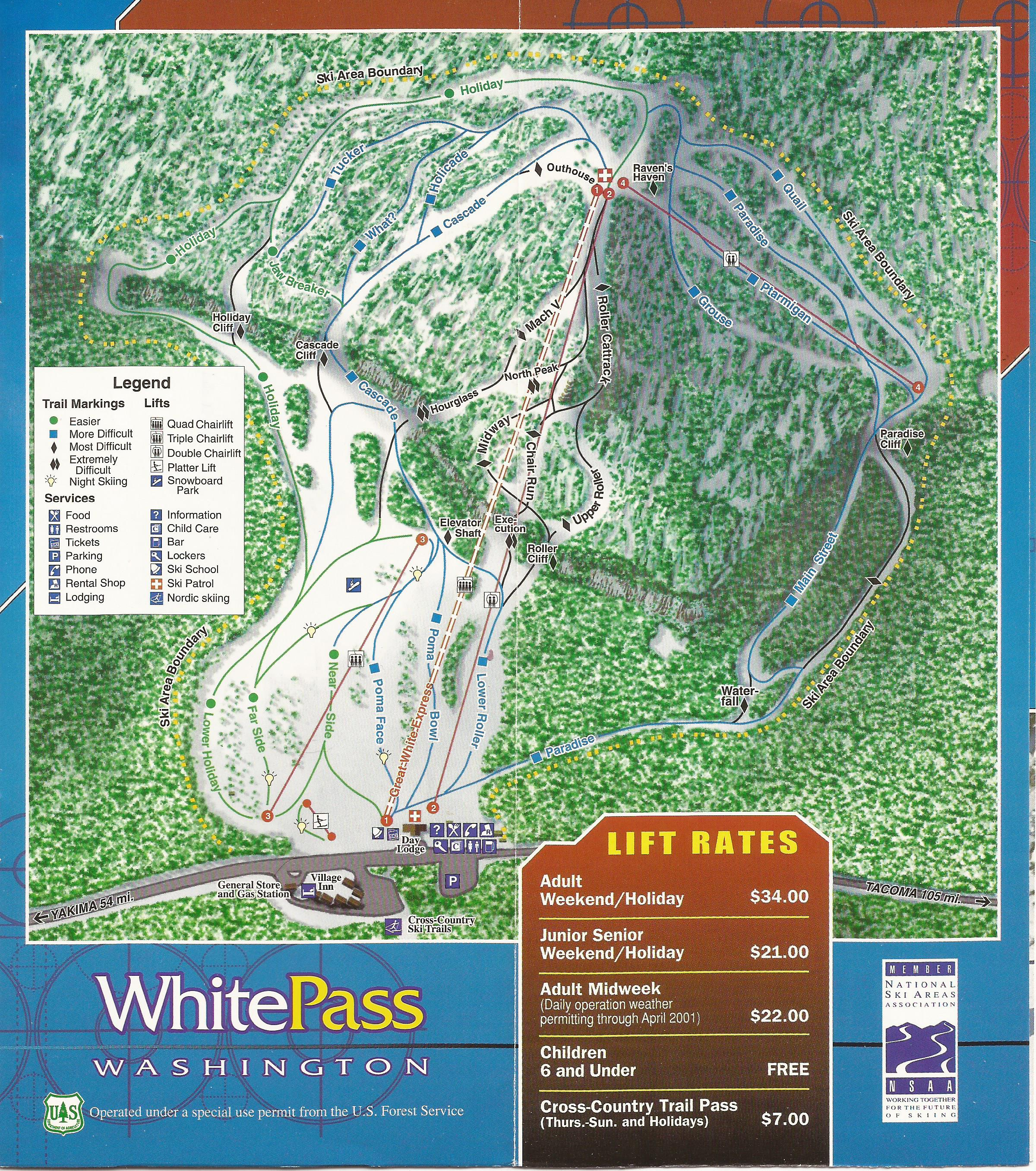White Pass Map White Pass Ski Area   SkiMap.org