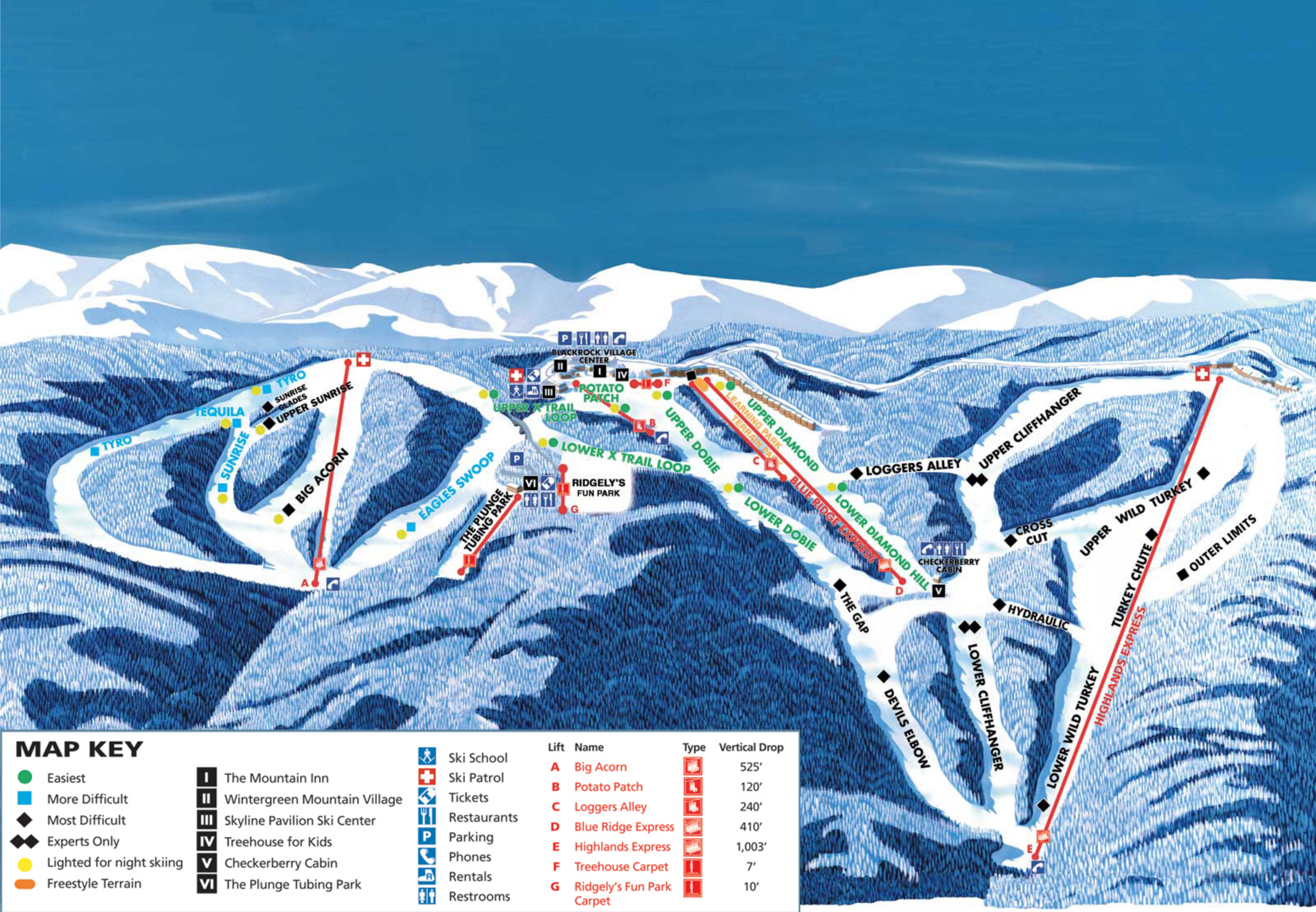 Ski Virginia Map.Wintergreen Ski Resort Skimap Org