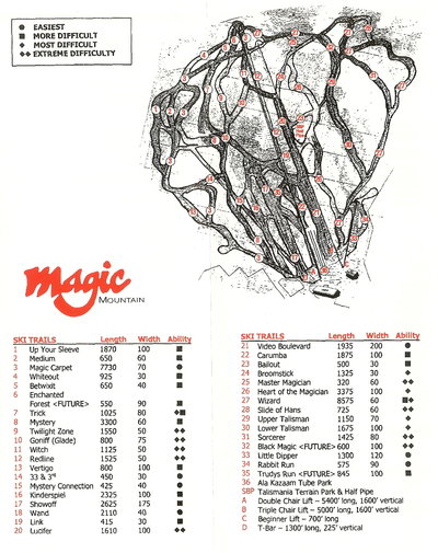 Magic Mountain 1997 Brochure Trail Map
