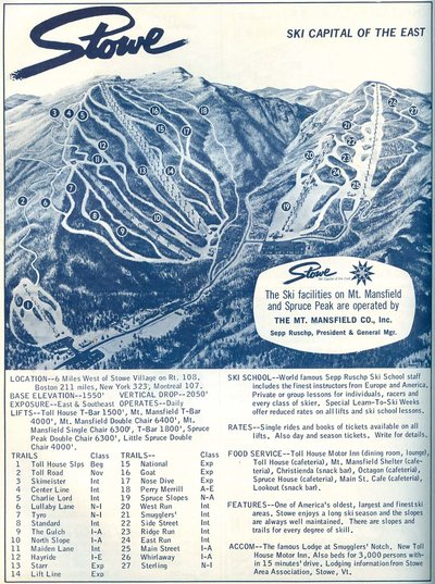 1964-1965 Stowe Trail Map