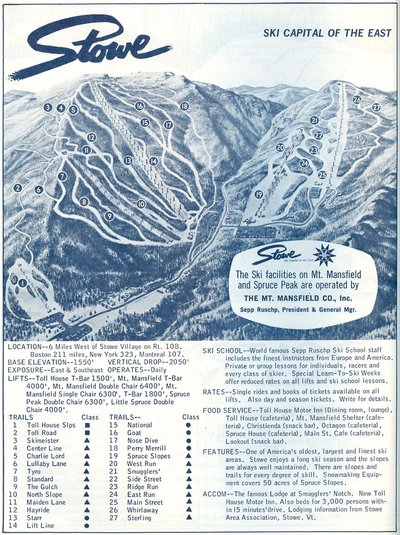 1967-1968 Stowe Trail Map