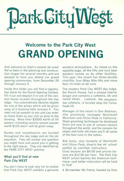 Grand opening for Park City West, now The Canyons