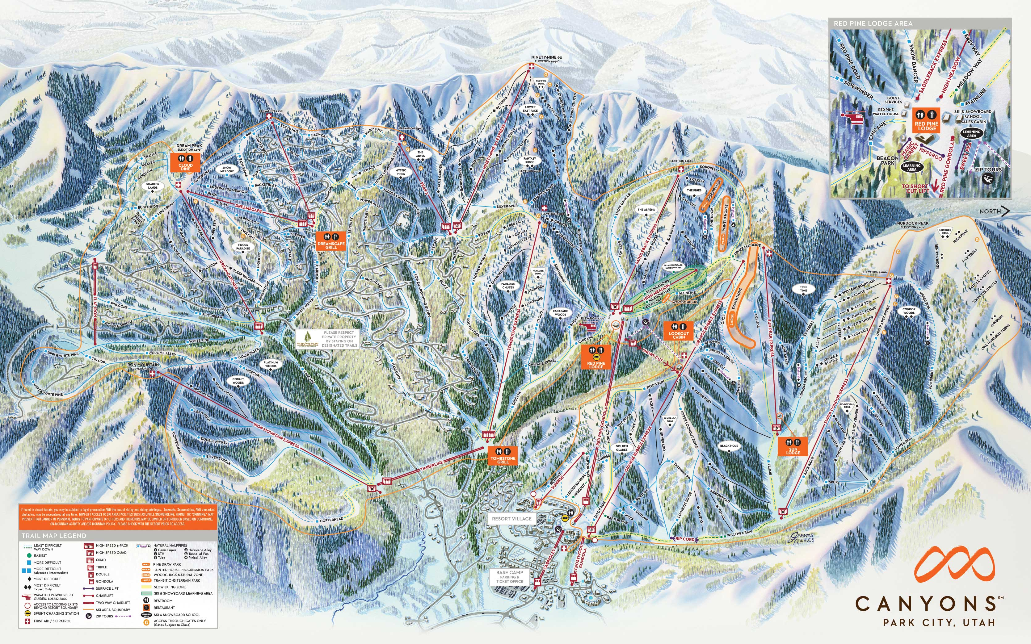 Park City Mountain Resort (The Canyons) - SkiMap.org Canyons Resort Map on