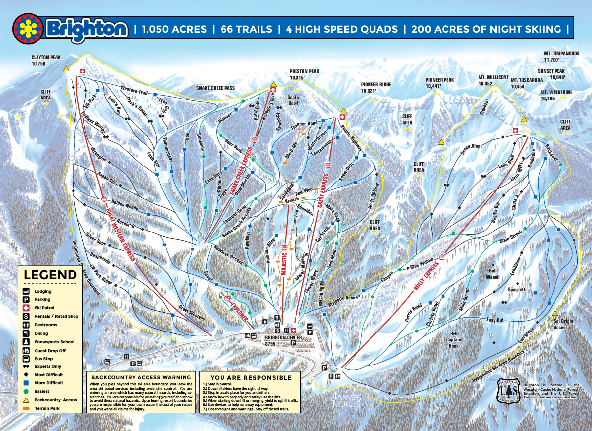 Brighton Ski Resort SkiMaporg - Brighton utah us map