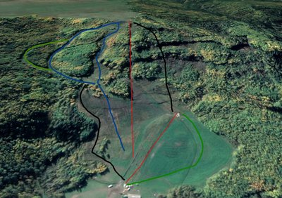 Approx. Trails at Big Bam. Made with Google Earth. Top lift is future quad chair, bottom lift is rope tow.