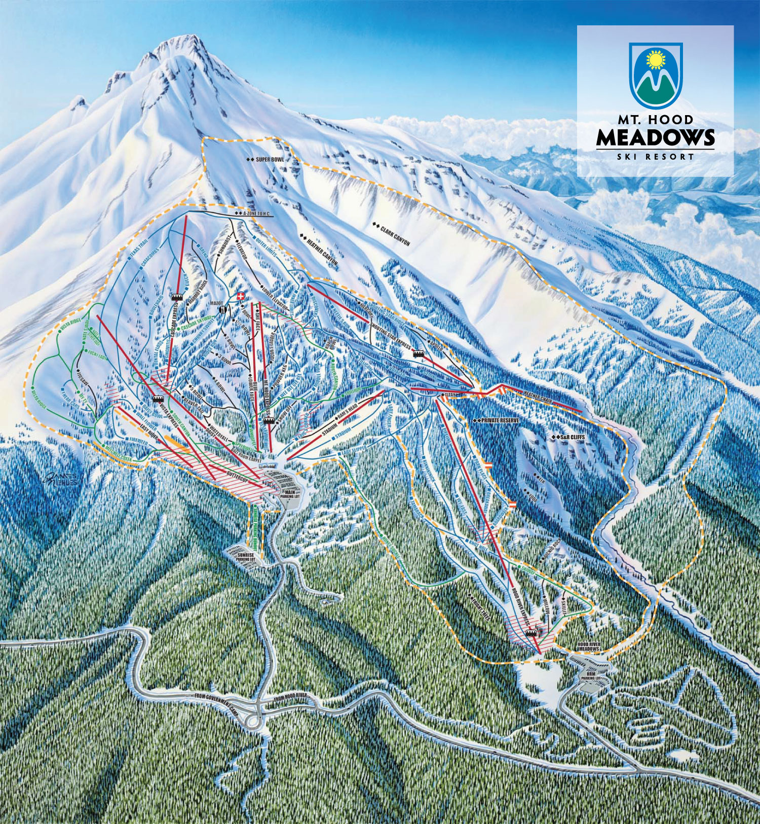 mt. hood meadows ski resort - skimap