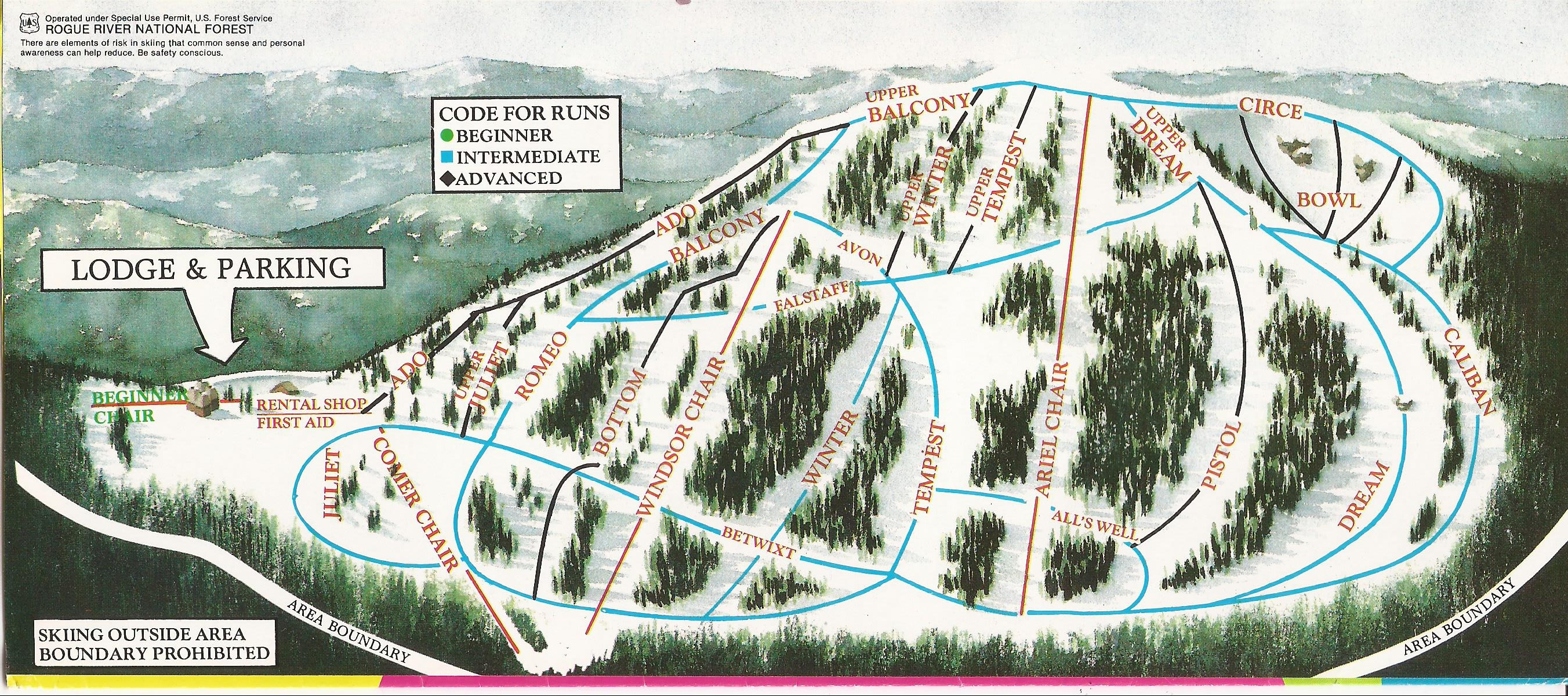 Ashland Montana Map.Mt Ashland Ski Snowboard Resort Skimap Org