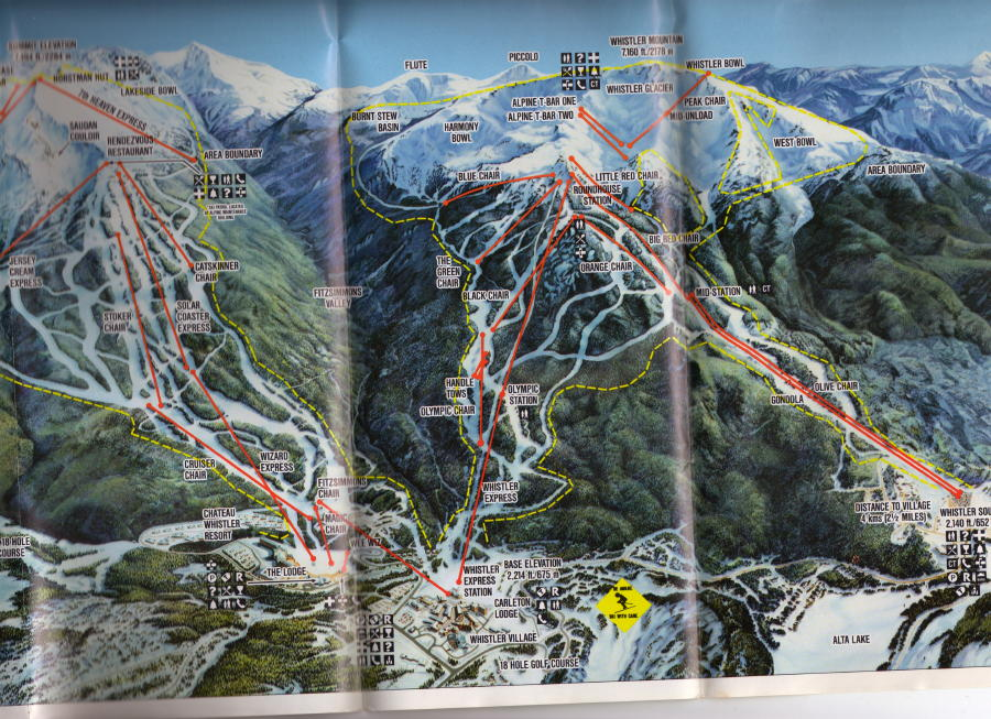 1990 Whistler Blackcomb Trail Map