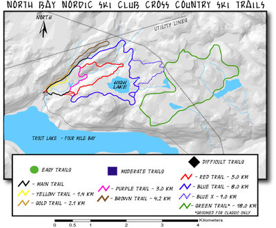North Bay Cross Country Ski Club ski trails trail map