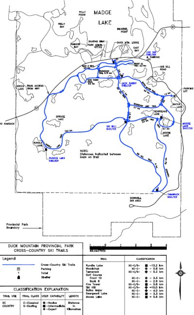 Duck Mountain Provincial Park Cross Country Ski Trail Map