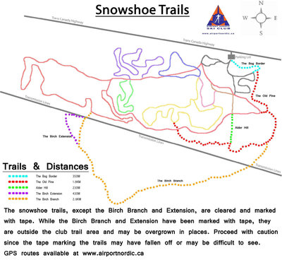 Airport Nordic Ski Club Snowshoe Trail Map