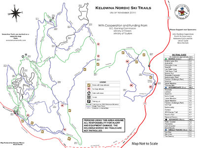 Kelowna Nordic Ski Trails Trail Map