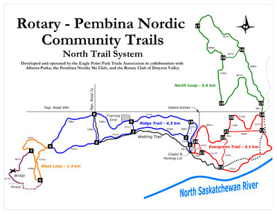 Rotary Pembina Nordic Ski Trails North Trail System Map