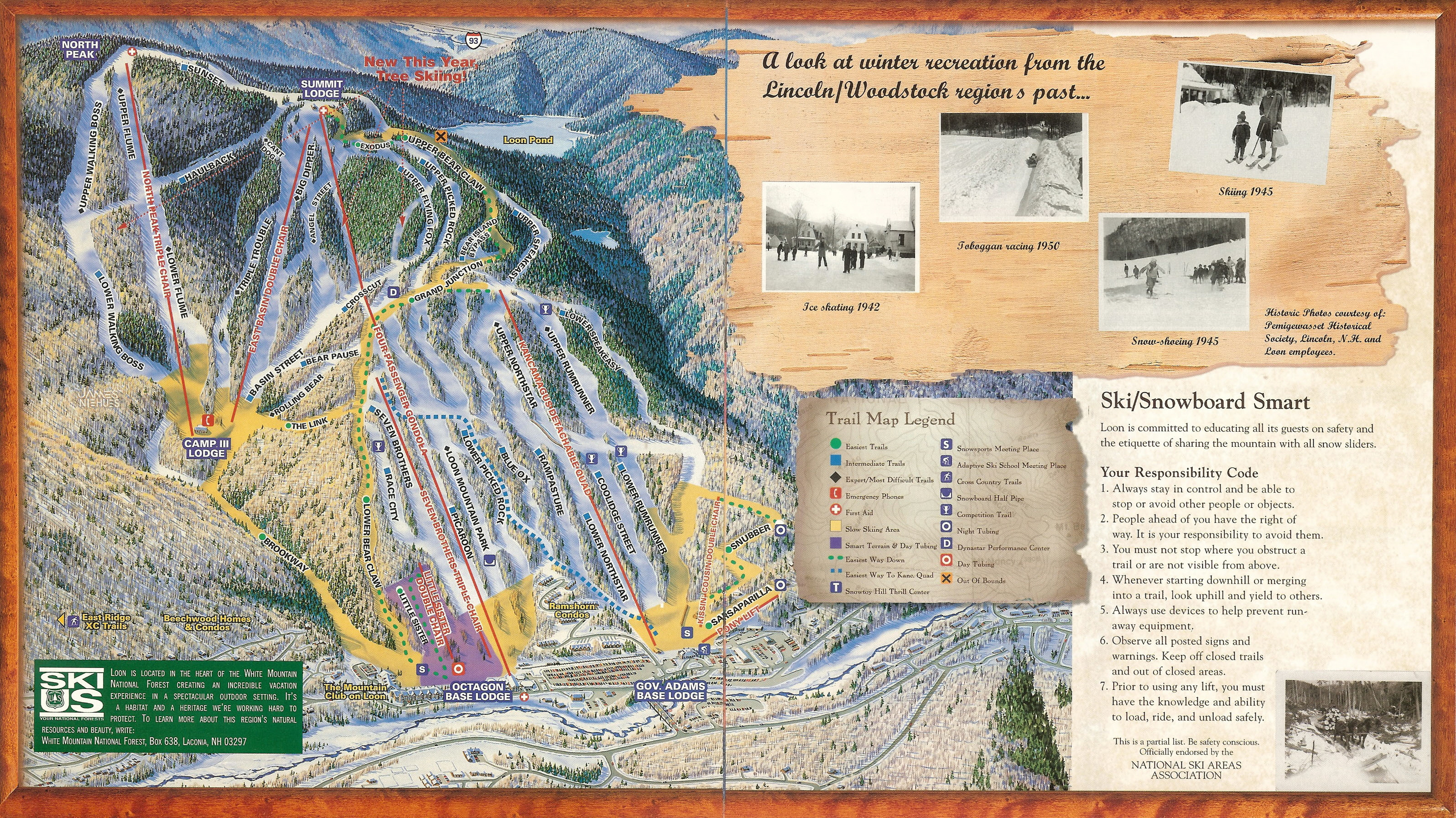 Loon mountain skimap loon mountain 1999 brochure trail map publicscrutiny Images