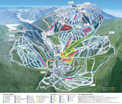 Sun Peaks Winter 2018 map with legend and lift operating hours