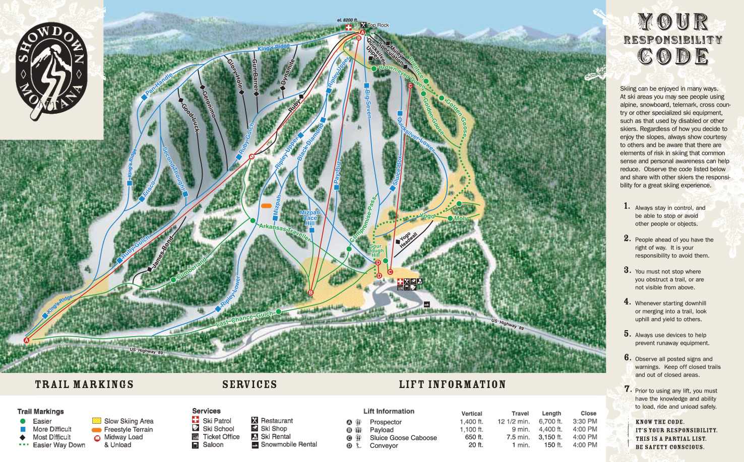 showdown ski area - skimap