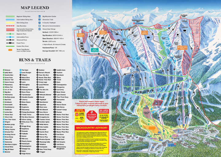 Kicking Horse (Whitetooth) - SkiMap.org on kicking horse skiing, red mountain ski map, banff ski map, lake louise ski map, kicking horse bike park, kicking horse summer,