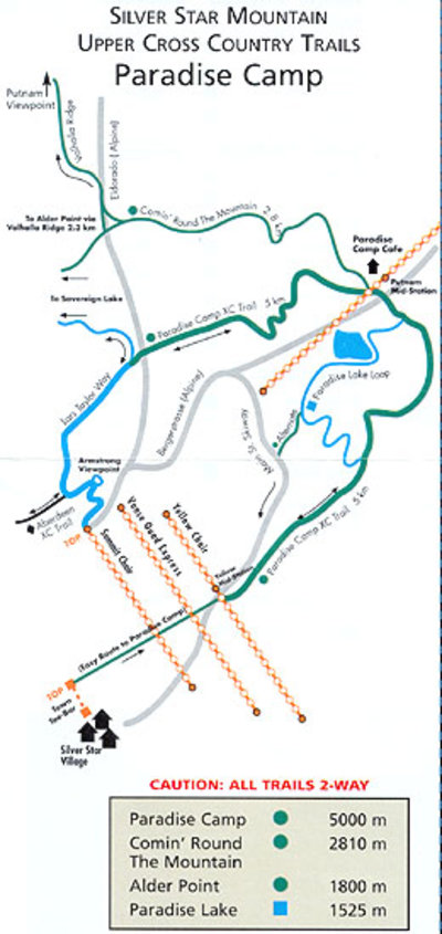 1990's Silver Star Nordic Upper Trails Map