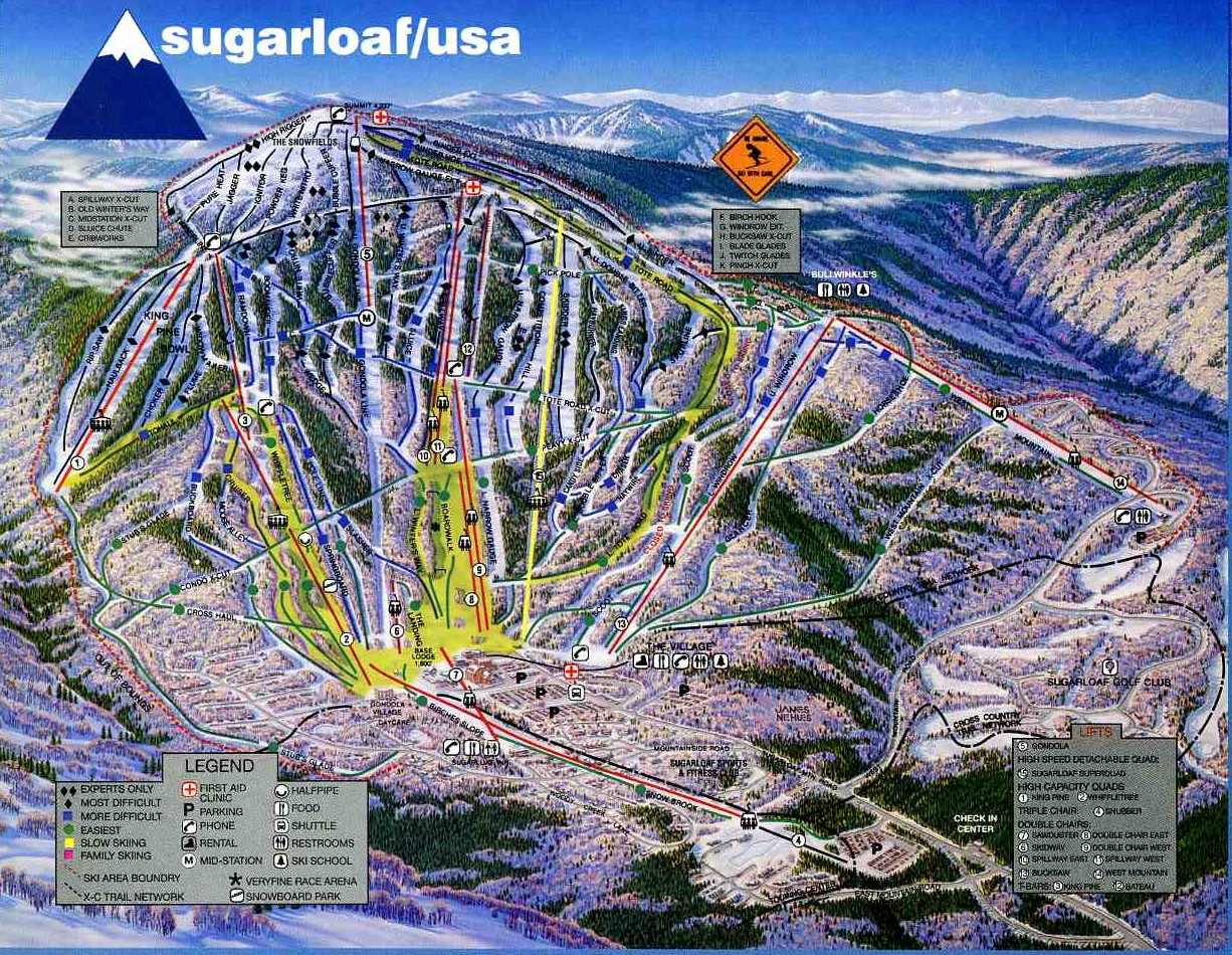Sugarloaf - SkiMap.org on maine united states map, discovery ski resort trail map, maine atv trail map, maine county map with towns,