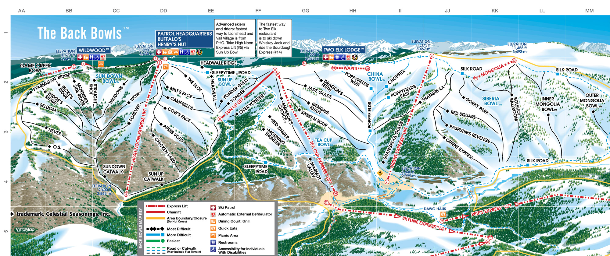 Vail Mountain Map Vail   SkiMap.org