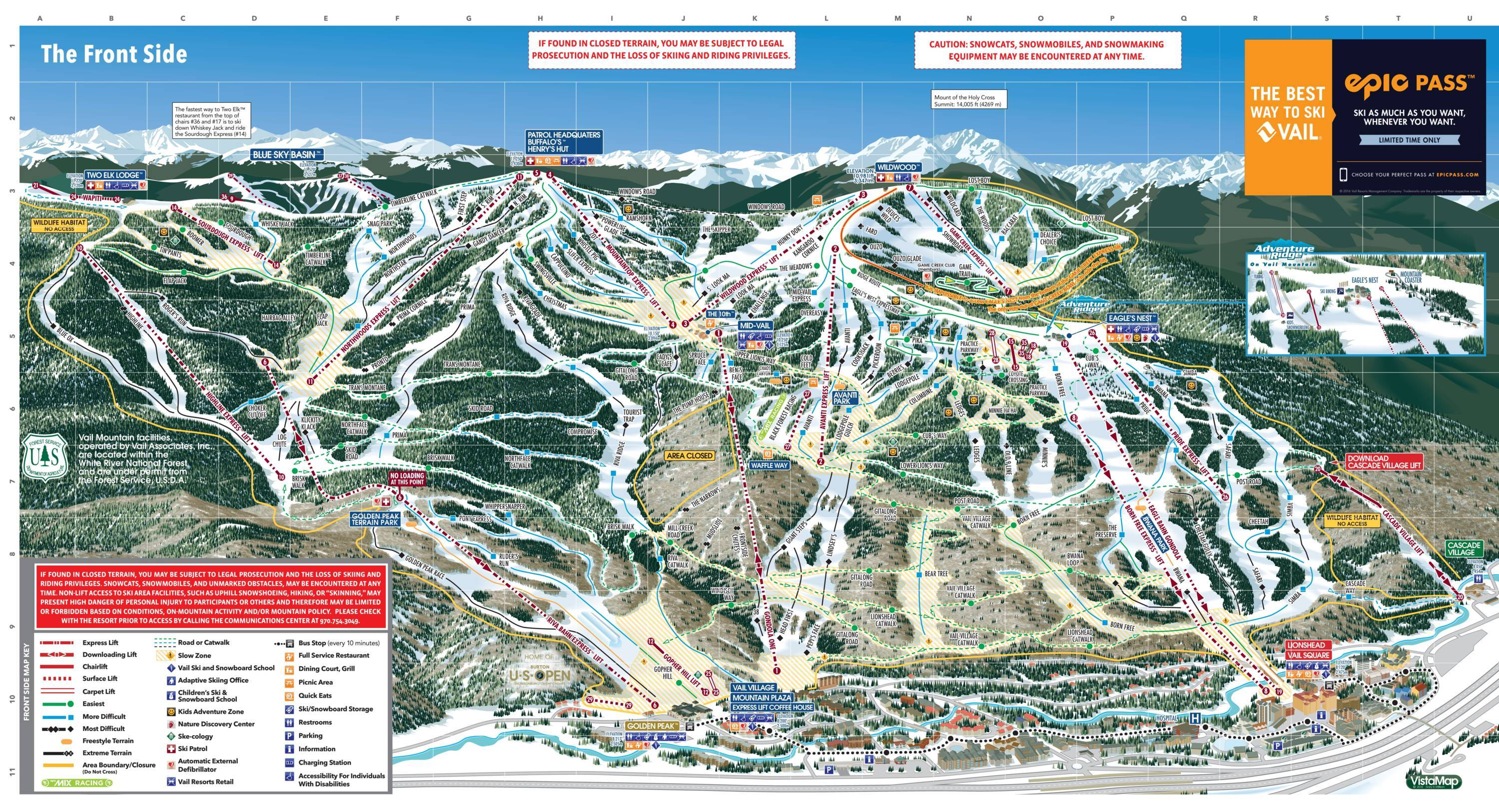Map Of Vail Vail   SkiMap.org Map Of Vail