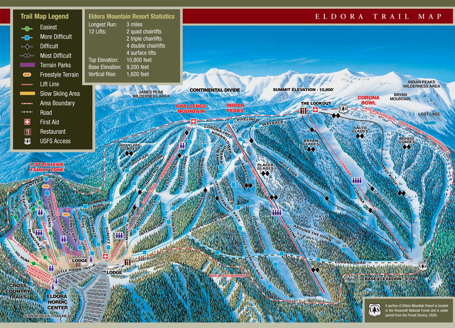 Eldora Mountain Resort - SkiMap.org on map of all colorado golf courses, map of all colorado counties, map of buttermilk ski area, map of all colorado cities and towns, map of beaver creek ski resort trail,