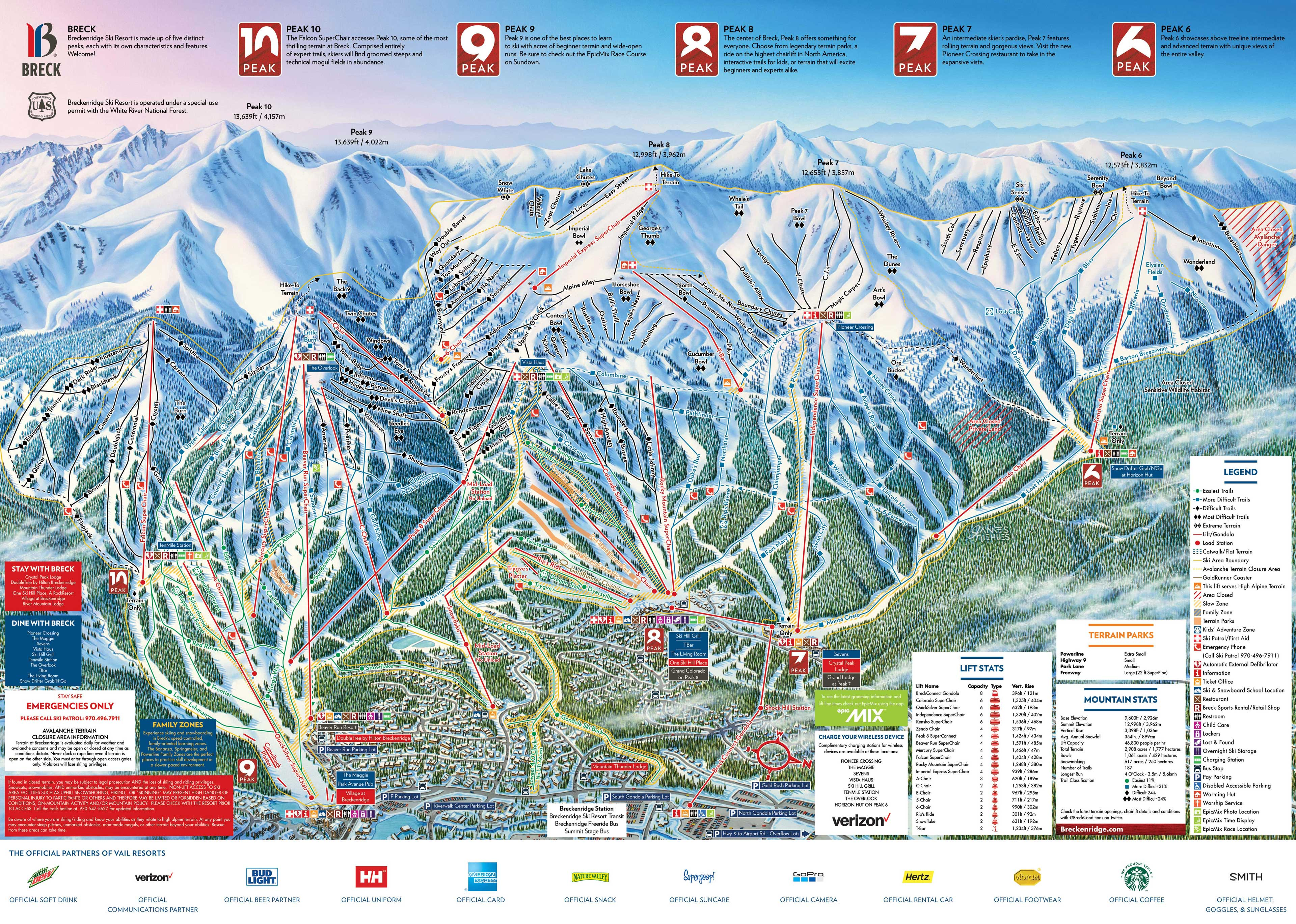 Colorado Ski Area Map Breckenridge Ski Resort   SkiMap.org
